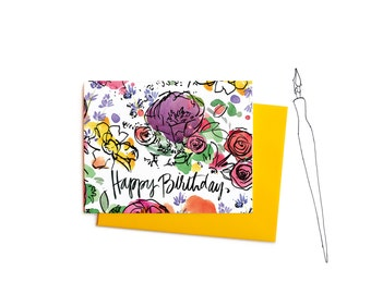 Spring Flowers Happy Birthday Cards with Watercolor Flowers and Handwritten Typography, Boxed Set of Notes