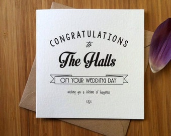 Wedding Card Personalised / Congratulations to the bride and groom / Newlyweds Printed modern greetings card