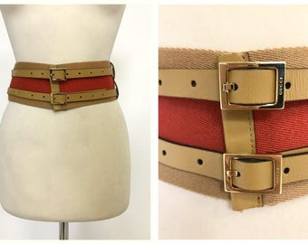GUCCI authentic vintage 1980s 1990s canvas red and beige leather chinch wide belt