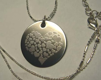 Heart necklace Engraved-Love stainless steel Hearts-I love you heart