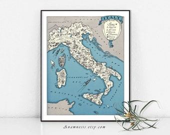 ITALY MAP - Printable Italy Map, Map of Italy,  Map Wall Decor, Vintage Italy Map, Instant Download, Map Wall Art,  Italy Picture Map