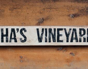 NEW!!** Vintage wooden sign 'Martha's Vineyard 8mi'