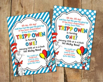 Dr. Seuss Party Invitation - 5x7 DIGITAL FILE - Personalized Printable - Cat in the Hat - Boy Birthday - Girl Birthday