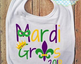 Mardi Gras 2018 Boy or Girl BIB - Baby - Mardi Gras Bib - Mask