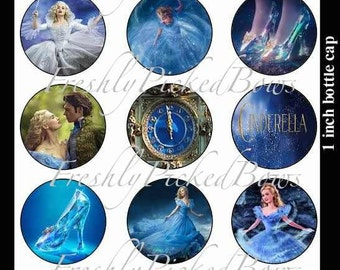 Disney 15 NEW 2015 Cinderella movie bottle cap images Instant download