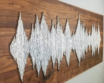 Wood Soundwave Wall Art - Custom Walnut Wall Art - Soundwave Art - Anniversary Gift Idea - Unique Gift Idea