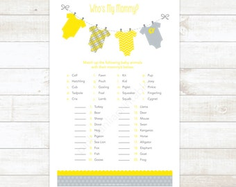 who's my mommy gender neutral baby shower game yellow clothes hanger matching game baby girl shower digital games - INSTANT DOWNLOAD