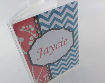 Girl Photo Album, Grandmas Brag book,  4x6 or 5x7 picture , Personalized Baby Album , Teal and coral Chevron, baby shower Gift 460