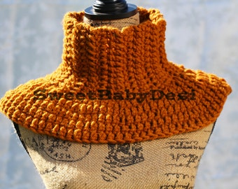 Gold Crochet Cowl, Mustard Adult Neck Scarf, Acrylic Wool Blend Capelet