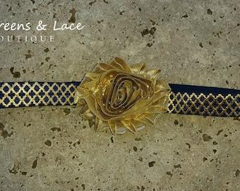 Navy & Gold Metallic Headband