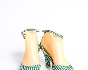 Vintage 90's Green and White Checkered High Heel Shoes