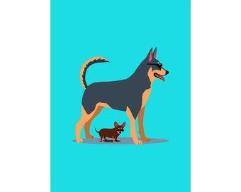Sunscreen, Husky and Chihuahua dog, art print 5x7 Animal Art Digital Art Dogs, illustration, home decor, Nursery, wall art, postcard
