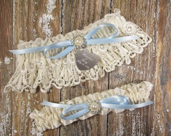 Ivory & Blue Wedding Garter Set, Personalized Garters with Engraving in Venice Lace with Pearls and Rhinestones