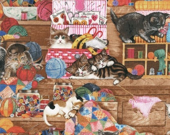 Whiskers and Tails Cats and Sewing Notions Robert Kaufman #5773 By the Yard