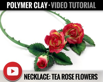 Polymer Clay Tutorial Vol.9: DIY How to make «Necklace with Real Tea Rose» Detailed Video Master Class, Instant Access