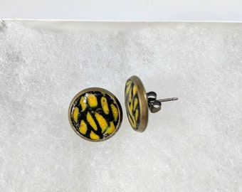 Stud Earrings, Yellow and Black Studs, Polymer Clay Studs, Antique Bronze Stud Earrings, Colorful Studs, Gift For Friend