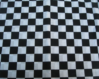 cotton fabric/black/white/checked/apparel/crafts/quilting/by the yard