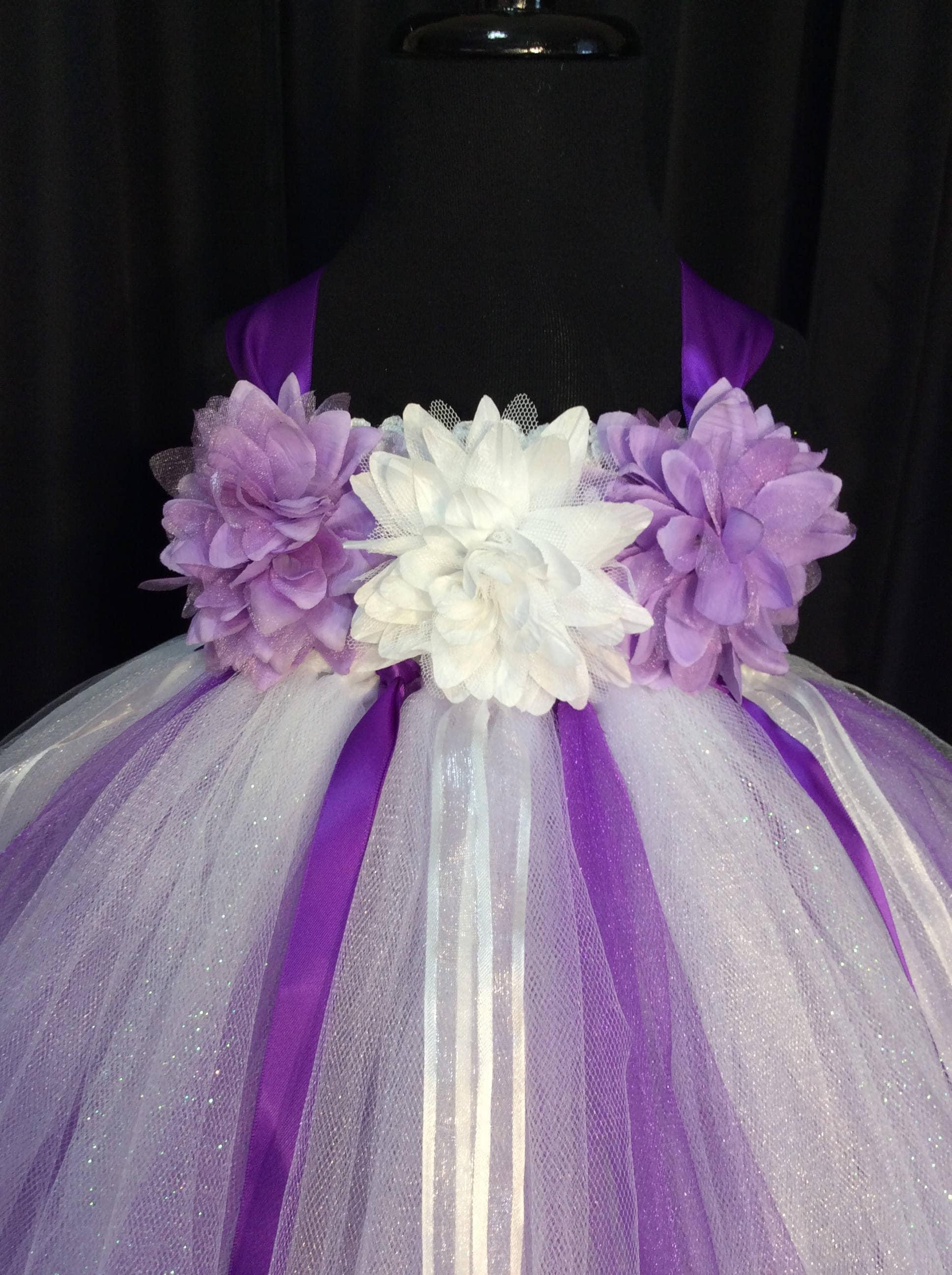 White And Purple Flower Girl Dress Tulle Flower Girl Dress Tutu