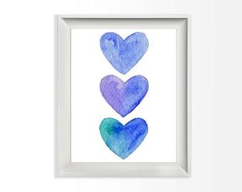 042 Three Hearts Watercolor Print Blue Decor Printable Art Wall Print Home Decor Printable 8x10 jpg & pdf file INSTANT DOWNLOAD