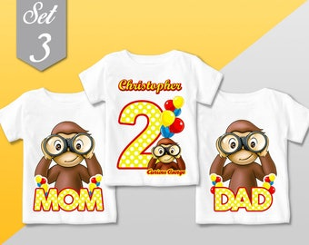 Curious George T Shirt, SET FAMILY 3 Qty - Curious George family Birthday shirt, Curious George party / Mommy Dad Girl or Boy