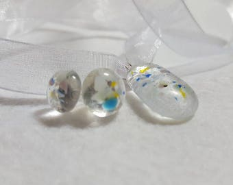 Speckled Glass necklace and earring set