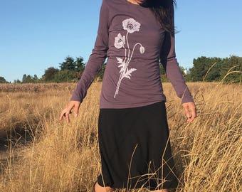Organic Bamboo T Shirt, Womens Graphic Tee, Poppy Screen Printed Tee, Purple Full Sleeve T Shirt, Bamboo Tee Shirt