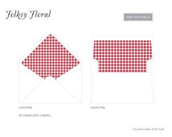 Red Gingham A7 Envelope Liners