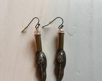 Jeweled Feathered Earrings