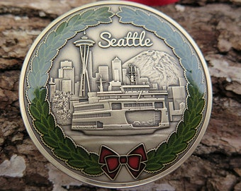 "DKC-1600-B Seattle Christmas Ornament Custom Hand Engraved Minted In Antique Brass 1.75"" Diameter 1.8 oz MINT SERIES"