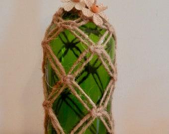 Macrame wine bottle vase
