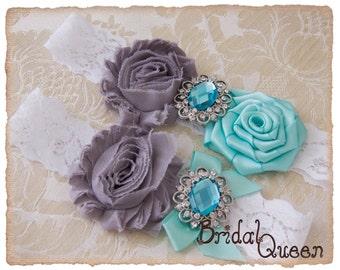 Lace Wedding Garter Set,  Bridal Garter Set, Lace Wedding garter Set, Lace Garter Set - White Lace, Grey and Aqua Flowers