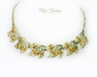 Vintage Gold Leaf Rhinestone Necklace, Amber Rhinestone & Leaves Choker/Necklace