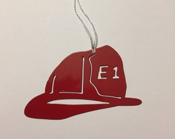 Fireman Helmet Ornament- you can customize Engine Number