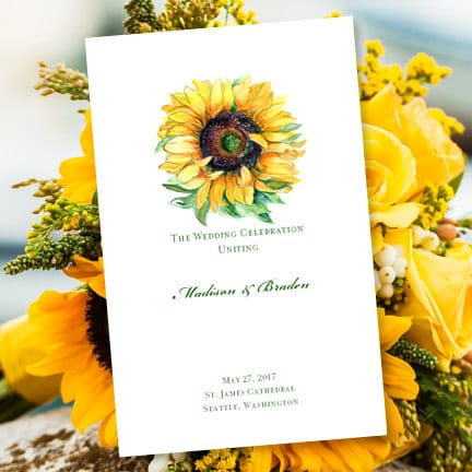 Printable Wedding Program Sunflower Foldover