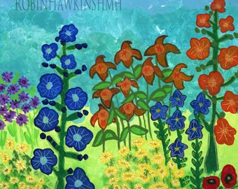 garden flowers, acrylic painting, canvas art, canvas painting, mixed media, hollyhocks, poppys, colorful painting, Impressionistic flowers
