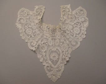 Antique lace Duchesse lace yoke collar w point de gaze inserts
