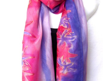 "Hand Painted Silk Scarf, Silk Scarf Handpainted, Red Lavender Blue, Abstract Stars Design, 71"" x 18"", Gift For Her, Gift Under 50"