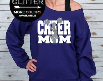 Cheer Mom Off Shoulder Raw Edge Sweatshirt for Women // GLITTER // Cheer Mom Shirt - Mothers Day Gift - Cheerleading (562MR Purple)