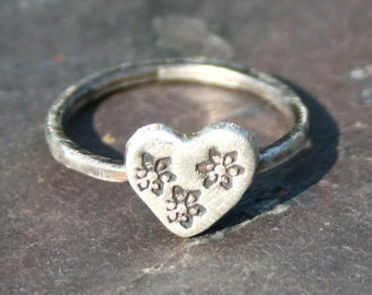 Rustic Silver Heart Ring, Stamped Heart Ring, US Size 7 3/4 Ring, Heart Stacking Ring, Silver Stacking Ring, Maggie McMane Designs