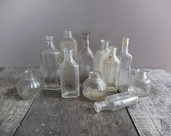 Vintage Glass Bottle - You Choose One /  Small Antique Glass Bottle / Vintage Apothecary Bottle / Vintage Glass Inkwell