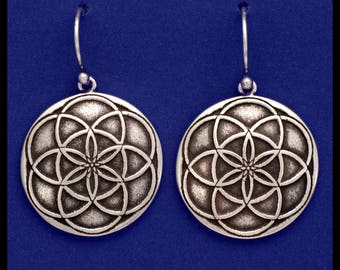 SEED OF LIFE- Sterling Silver- Earrings