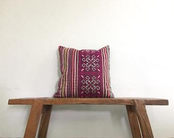 "18"" by 18"" Vintage Hmong Hill Tribe Cross Stitch Cushion Cover Ethnic Batik Thai"