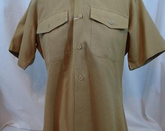 Vintage khaki short sleeve Flying Cross tropical weight military shirt
