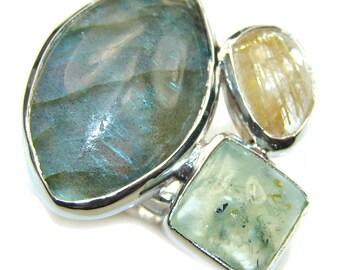 Labradorite, Moss Prehnite, Golden Rutilated Quartz Sterling Silver Ring - weight 10.50g - Size 8 -adjustable - dim L -1 1 8, W -1 3 8, T -1