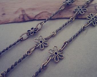 3.2ft  Fancy Metal Chain Antique Gold color