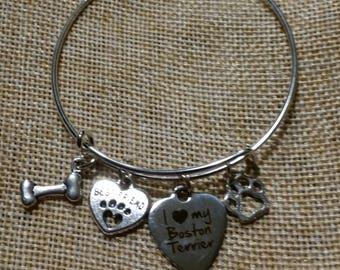Boston Terrier Charm Bangle Bracelet, Dog Charm Bracelet, Pet Jewelry