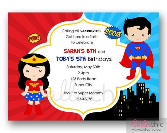Superman and Wonder Woman Birthday Invitation PRINTABLE Twin