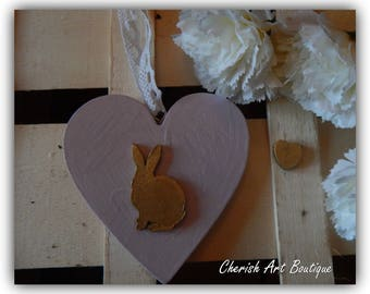 Hand made rustic wooden heart with gold Easter bunny hanging ornament