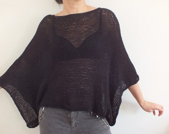 Black cotton sweater blouse summer cotton coverup cropped sweater