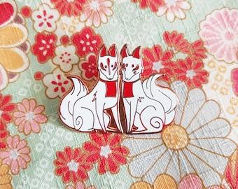 Inari Kitsune enamel pin set